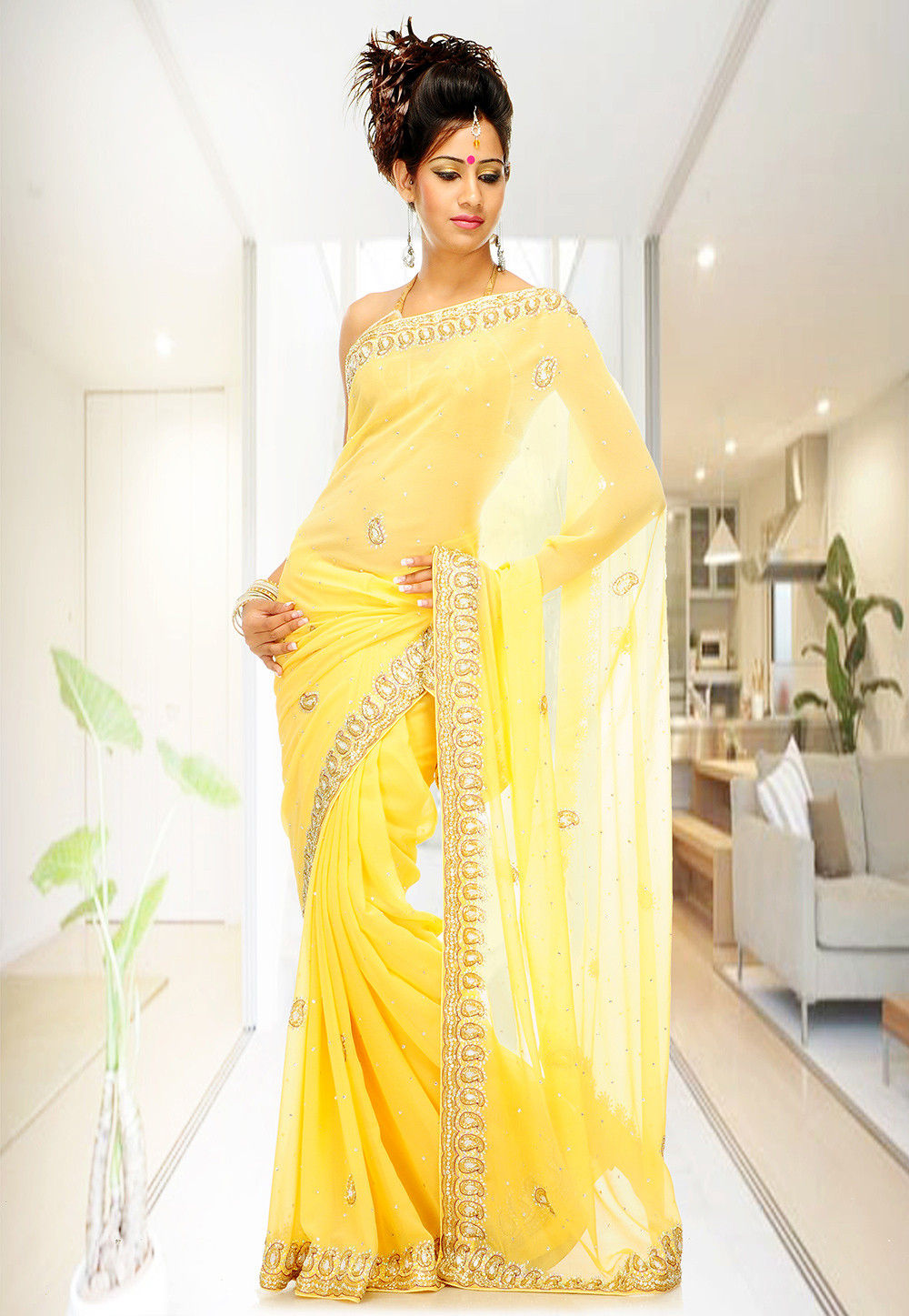 Embroidered Chiffon Saree in Light Yellow