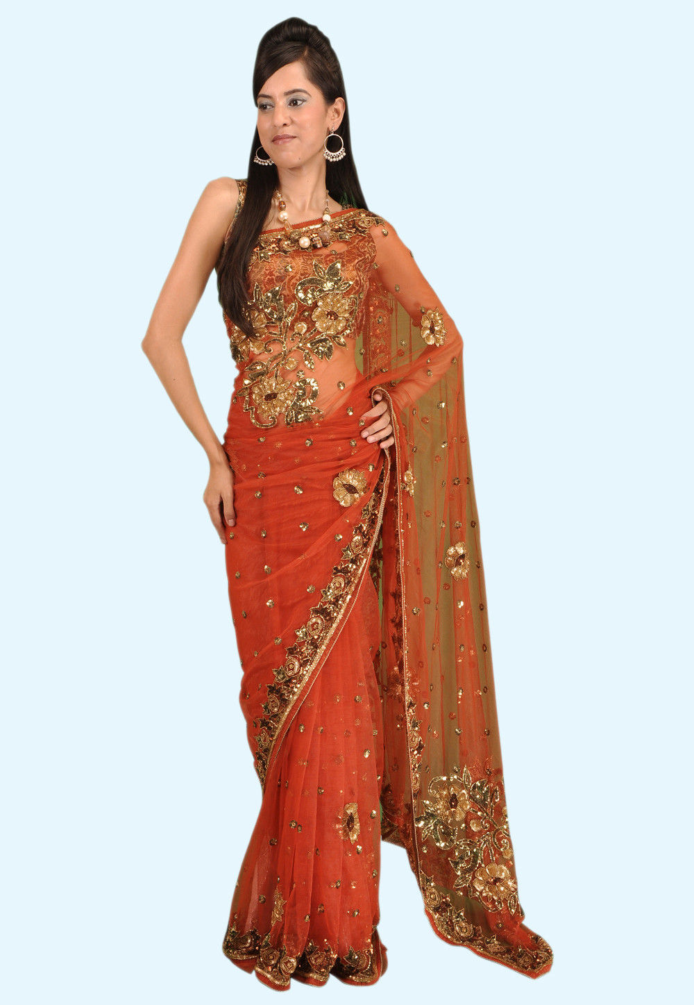 Hnad Embroidered Net Saree in Orange