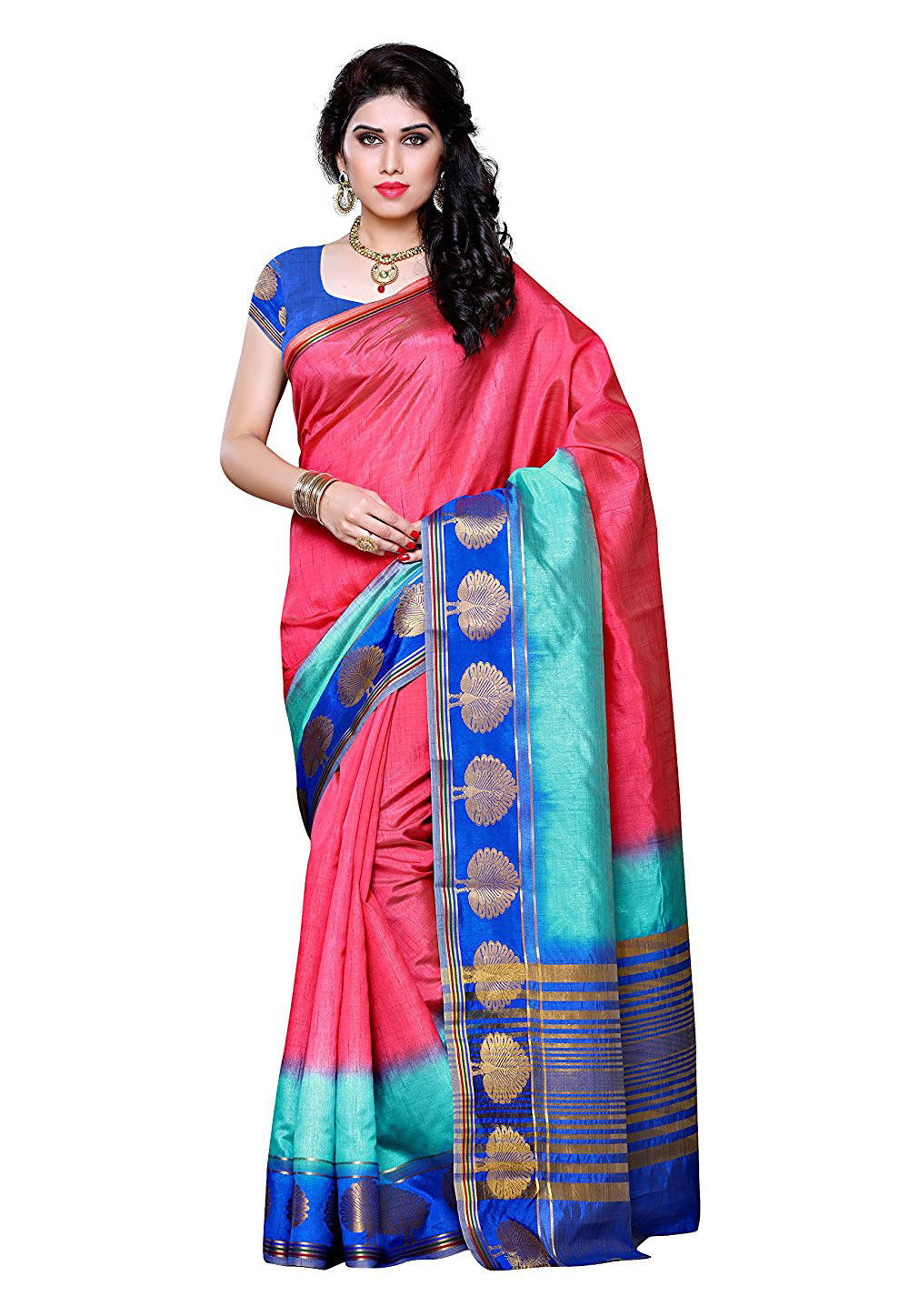 Woven Tussar Silk Saree in Old Rose