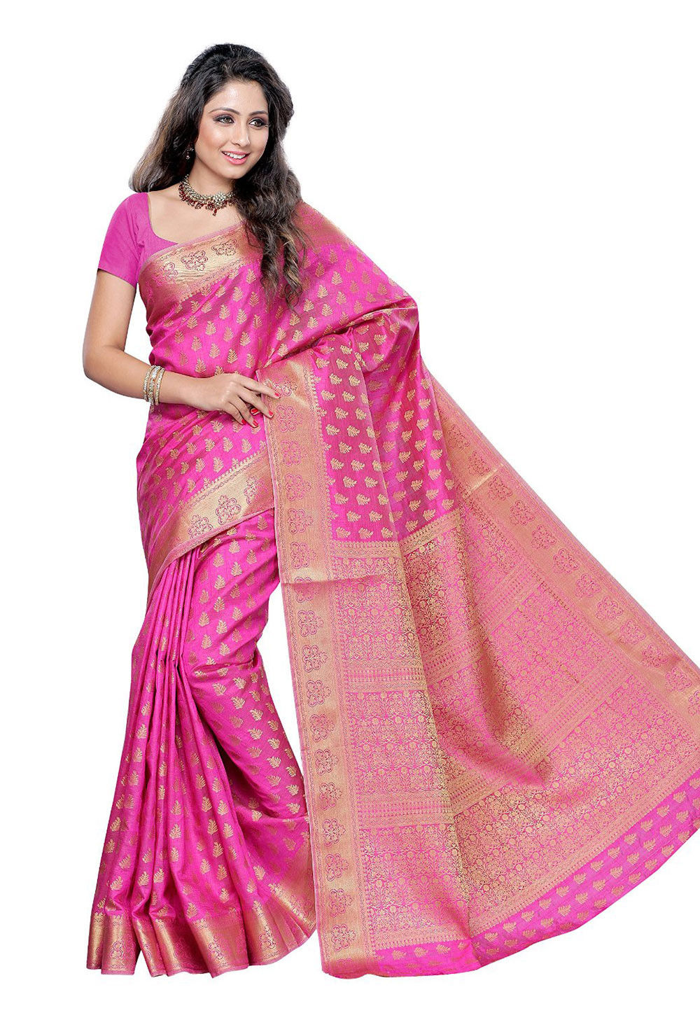 Woven Tussar Silk Saree in Pink