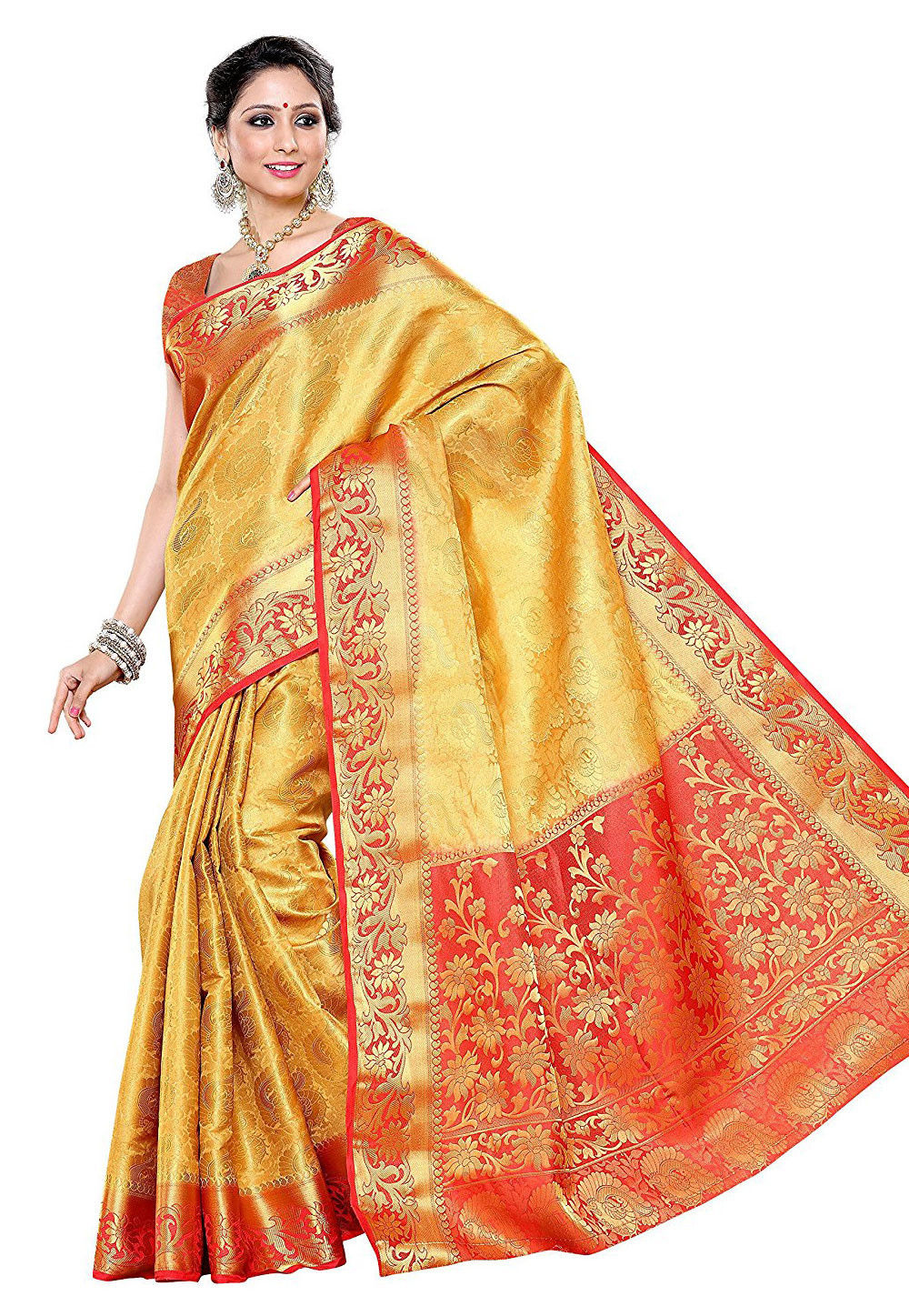 Woven Kanchipuram Silk Saree in Yellow