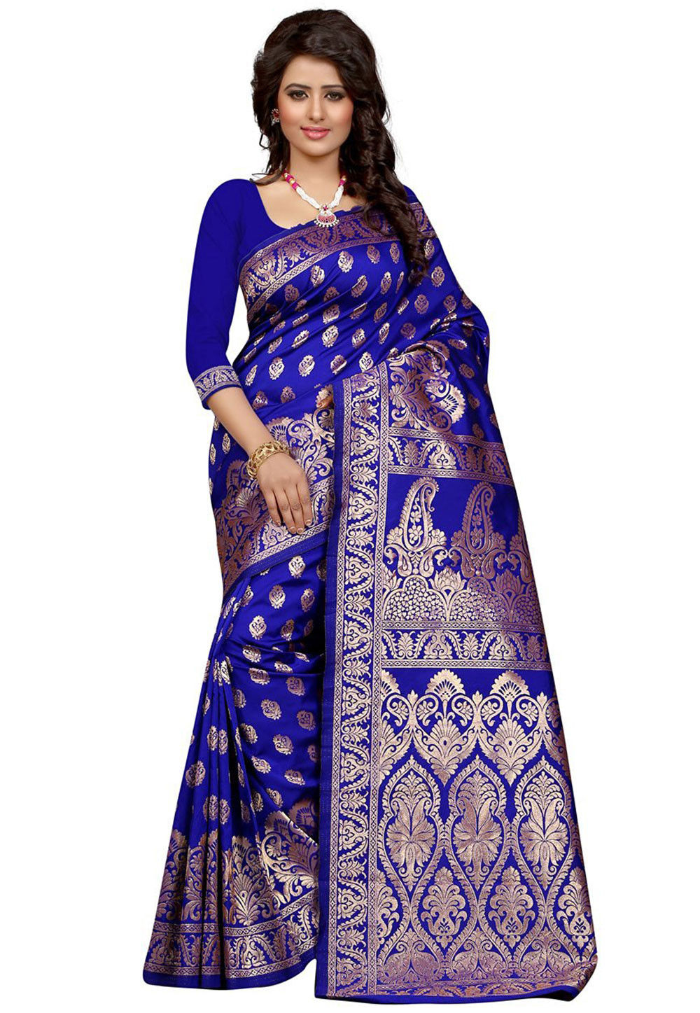 Woven Art Silk Saree in Royal Blue