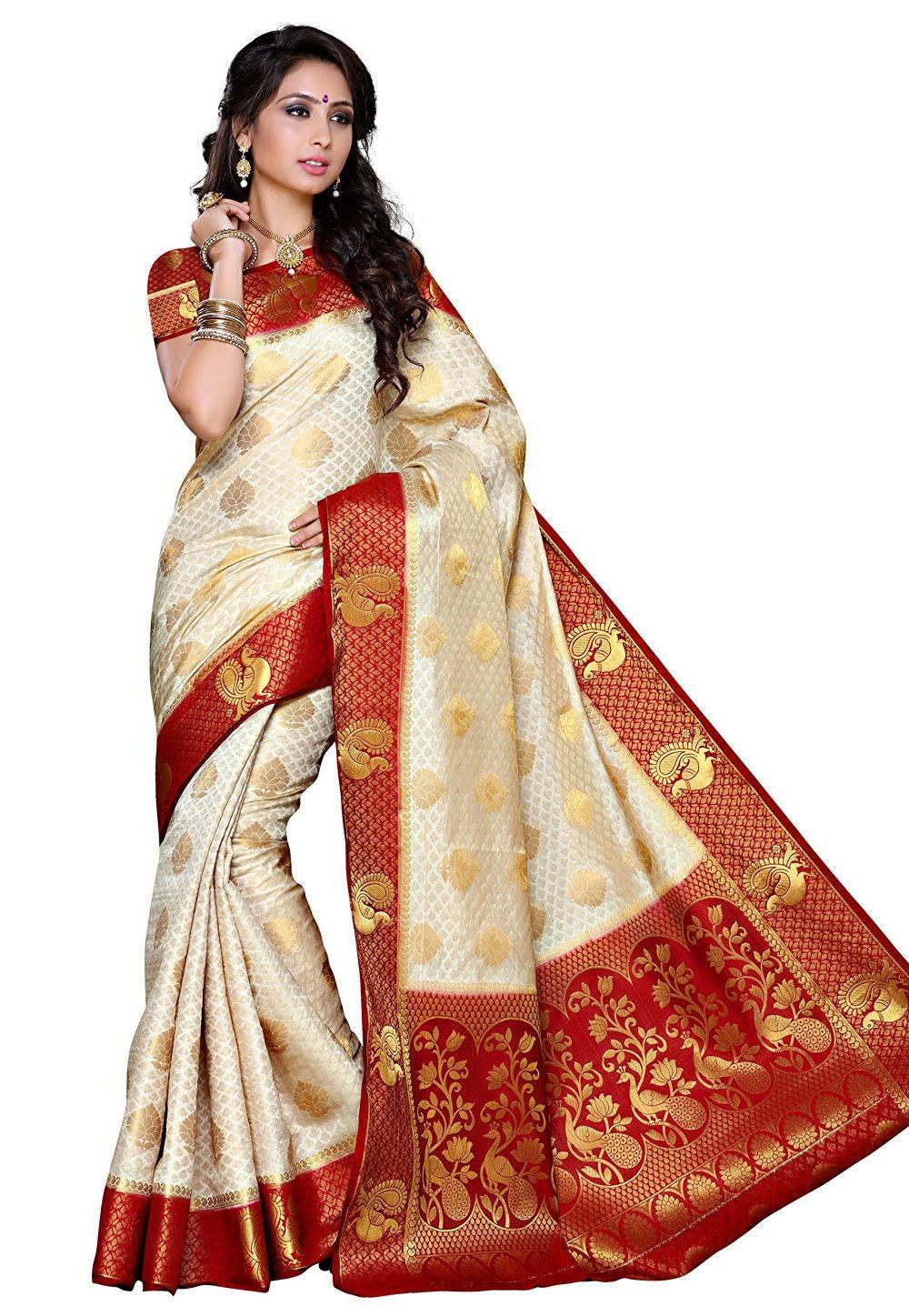 Woven Tussar Silk Saree in White