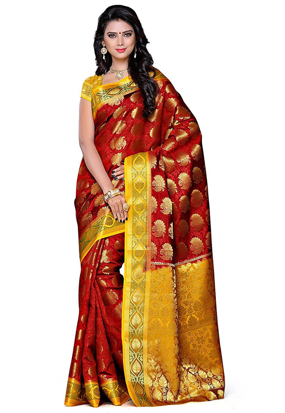 Woven Kanchipuram Silk Saree in Maroon