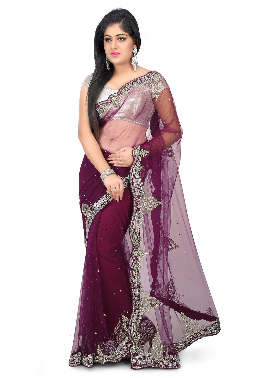 Hand Embroidered Net Saree in Wine