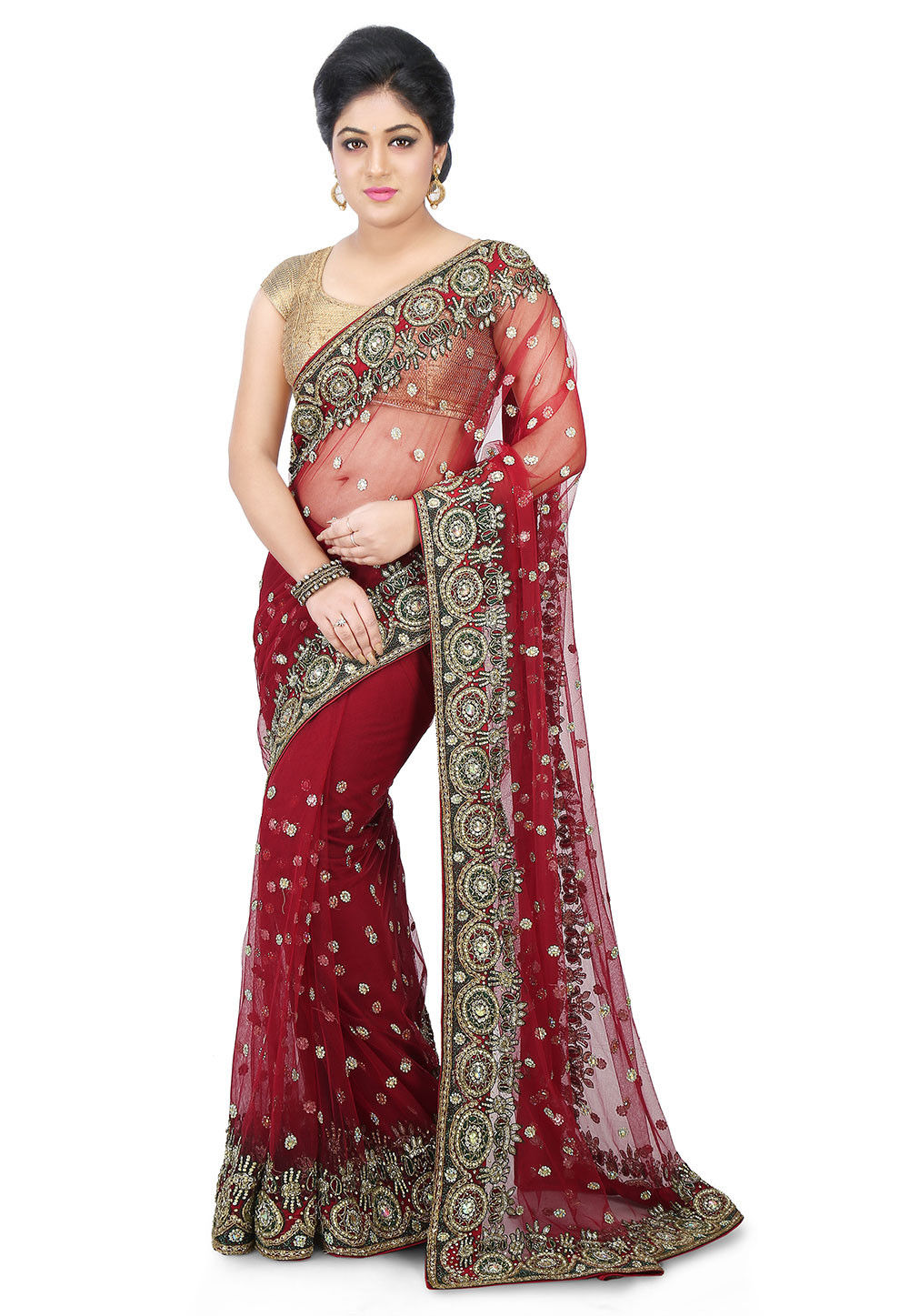 Hand Embroidered Net Saree in Maroon