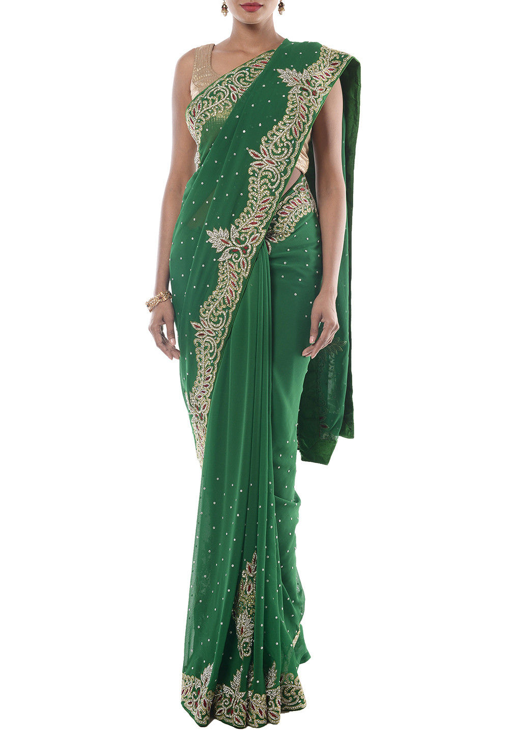 Hand Embroidered Chiffon Saree in Green