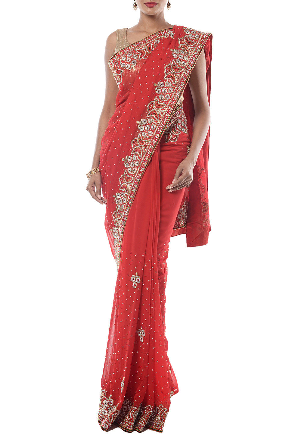 Hand Embroidered Chiffon Saree in Red