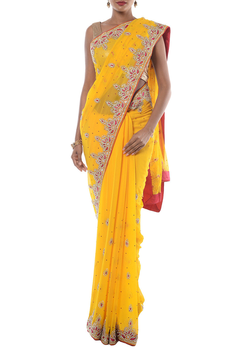 Hand Embroidered Chiffon Saree in Yellow
