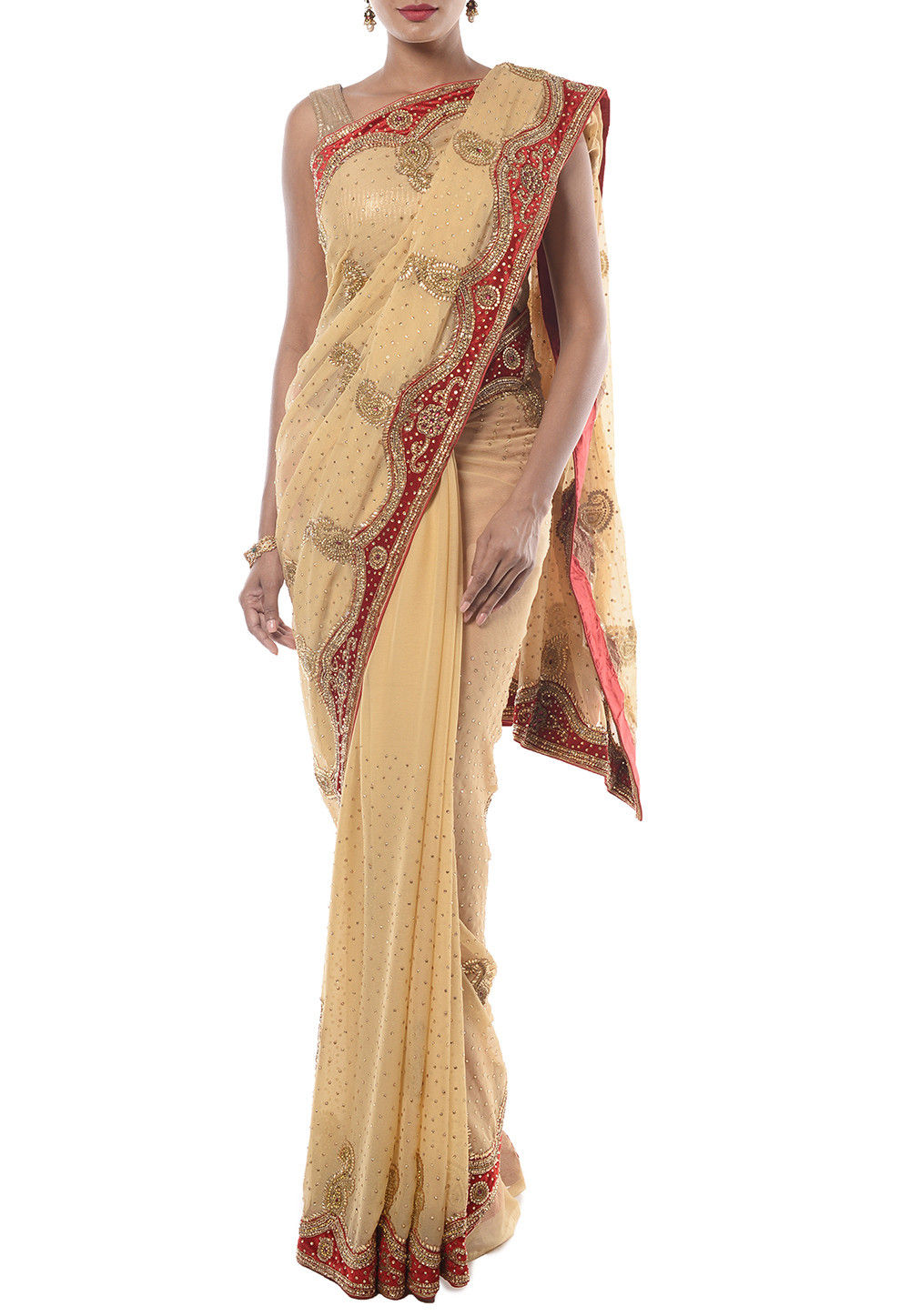 Hand Embroidered Chiffon Saree in Beige
