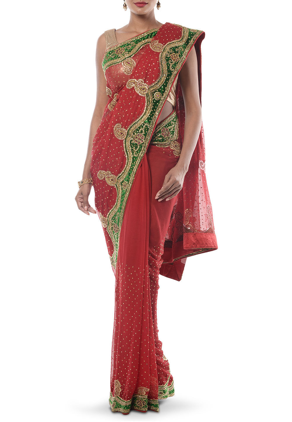 Hand embroidered chiffon saree in red seh