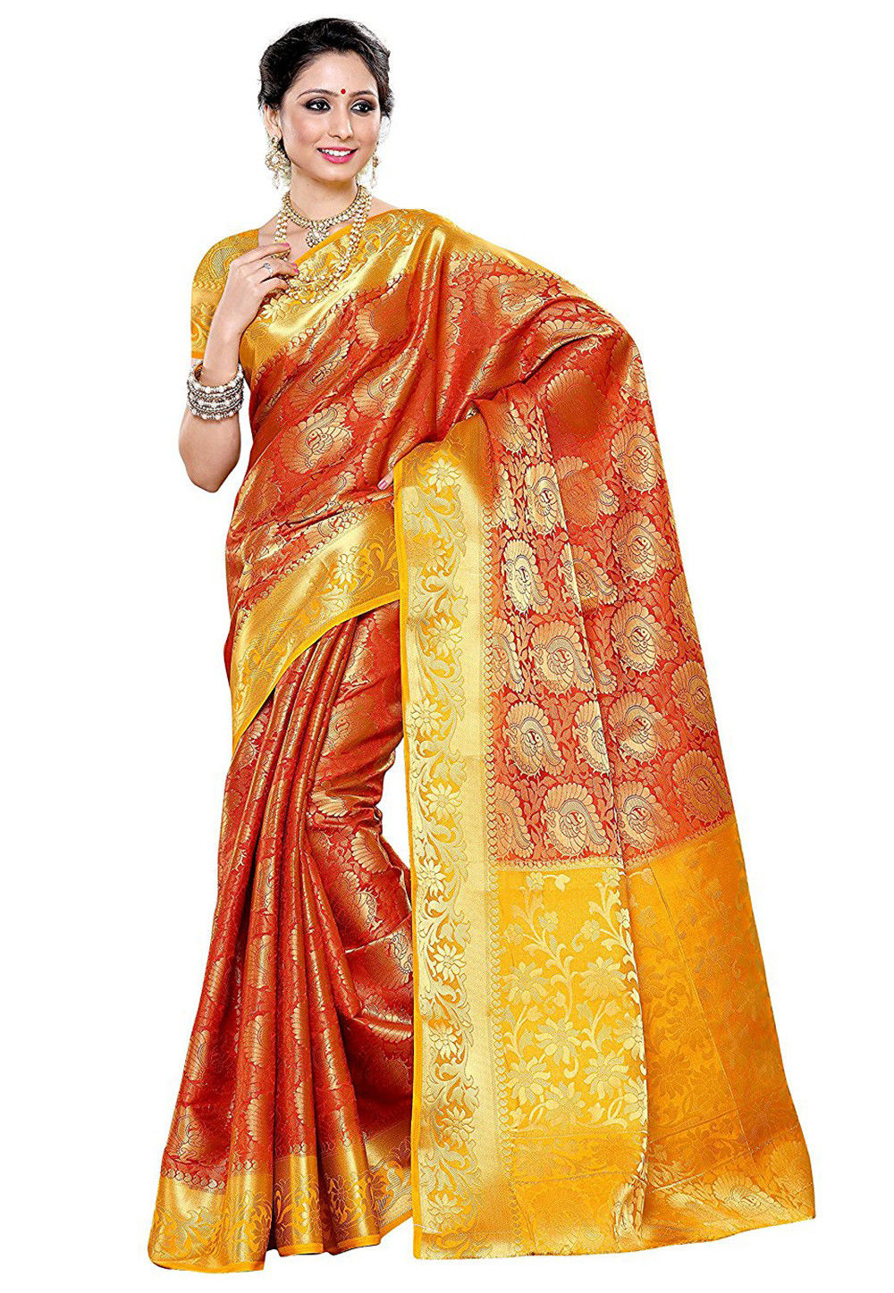 Woven Banarasi Silk Saree in Rust