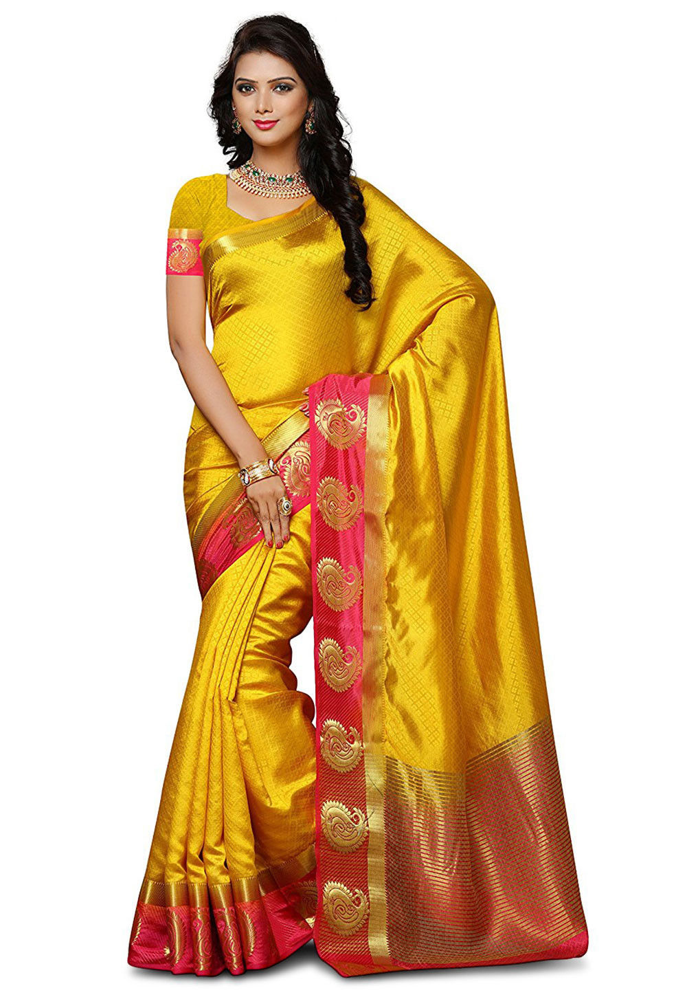 Woven Art Silk Saree in Mustard