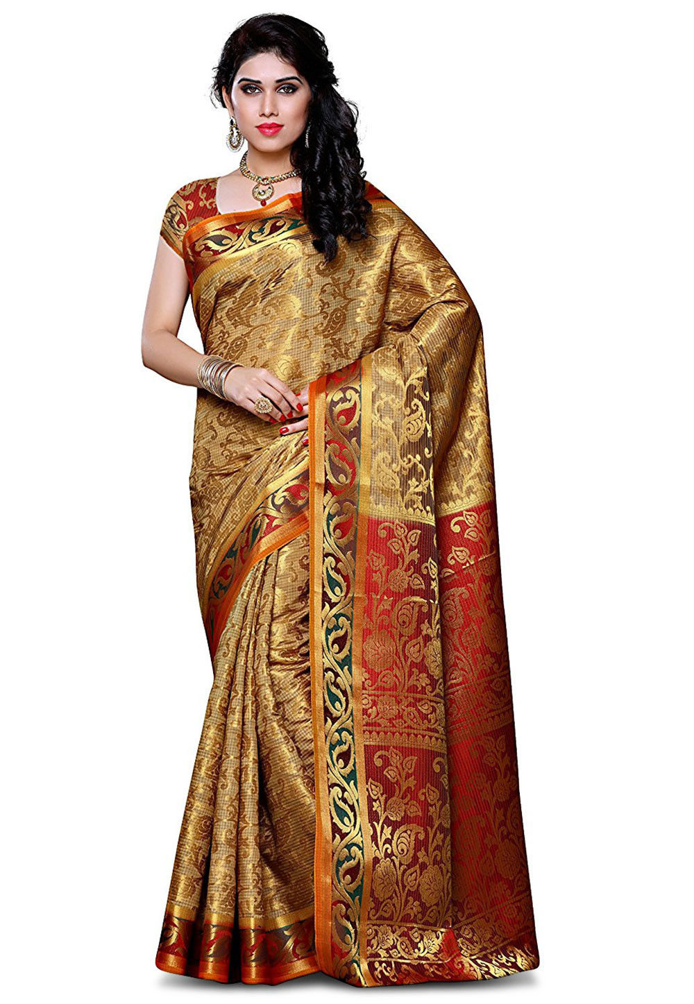 Woven Art Silk Saree in Golden
