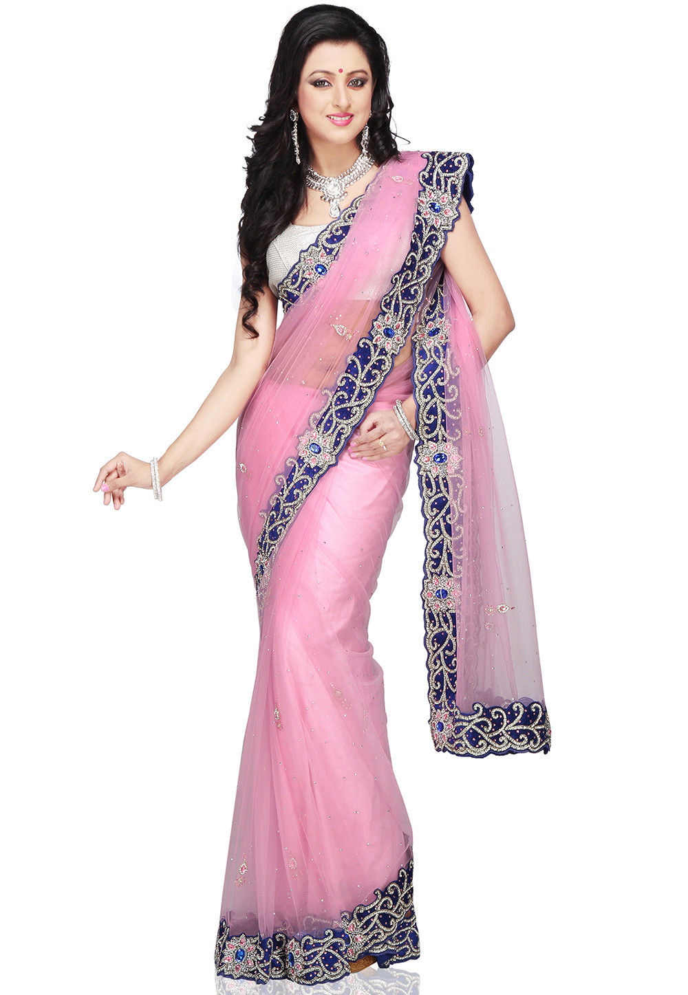 Hand Embroidered Shimmer Net Saree in Baby Pink