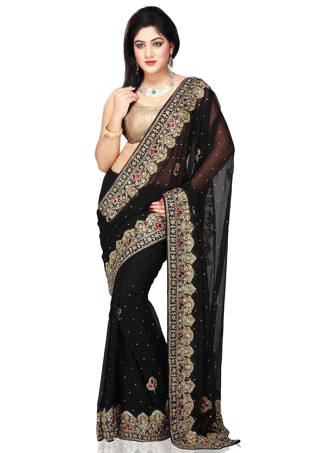 Hand Embroidered Chiffon Saree in Black