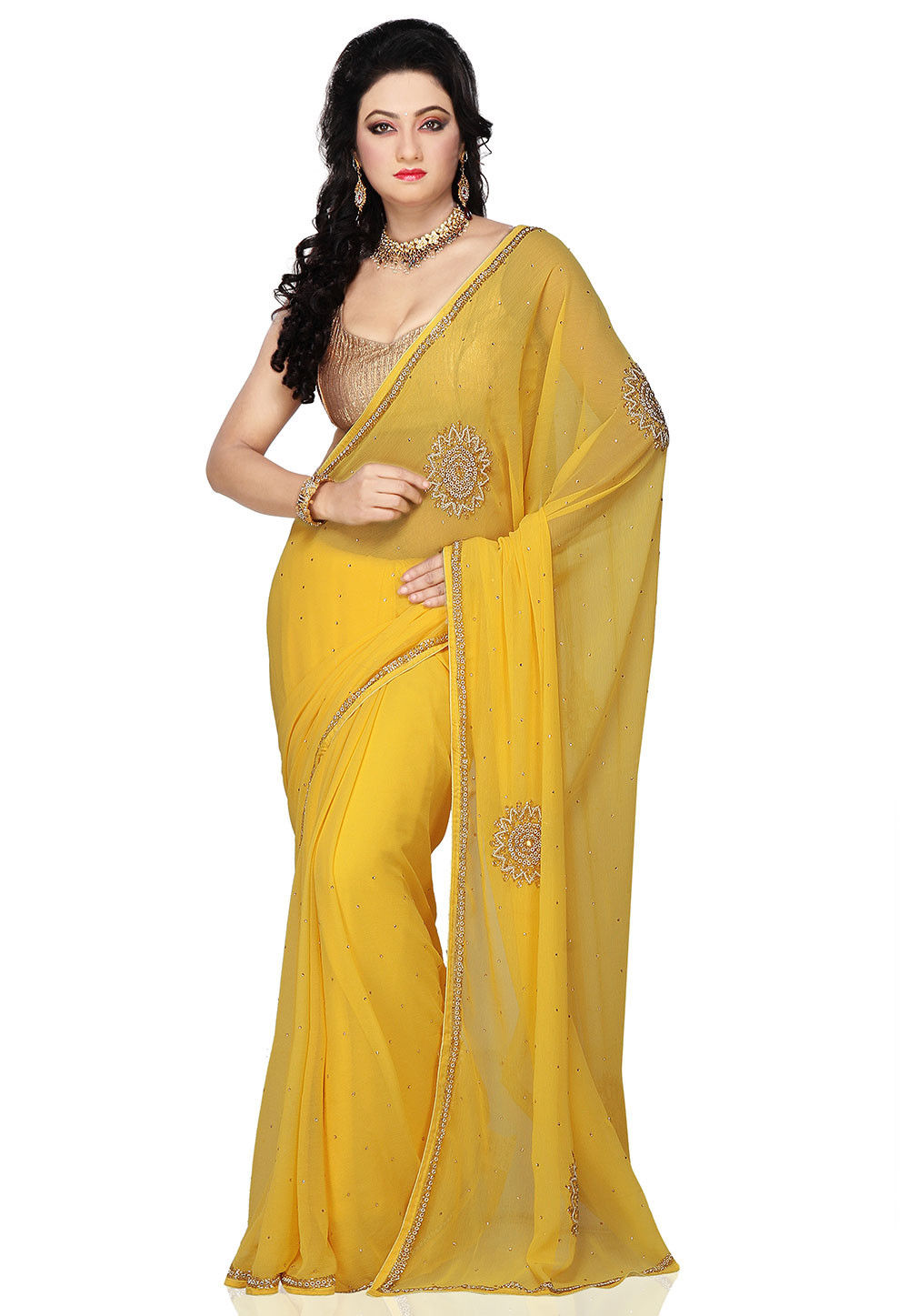 Hand embroidered chiffon saree in yellow seh