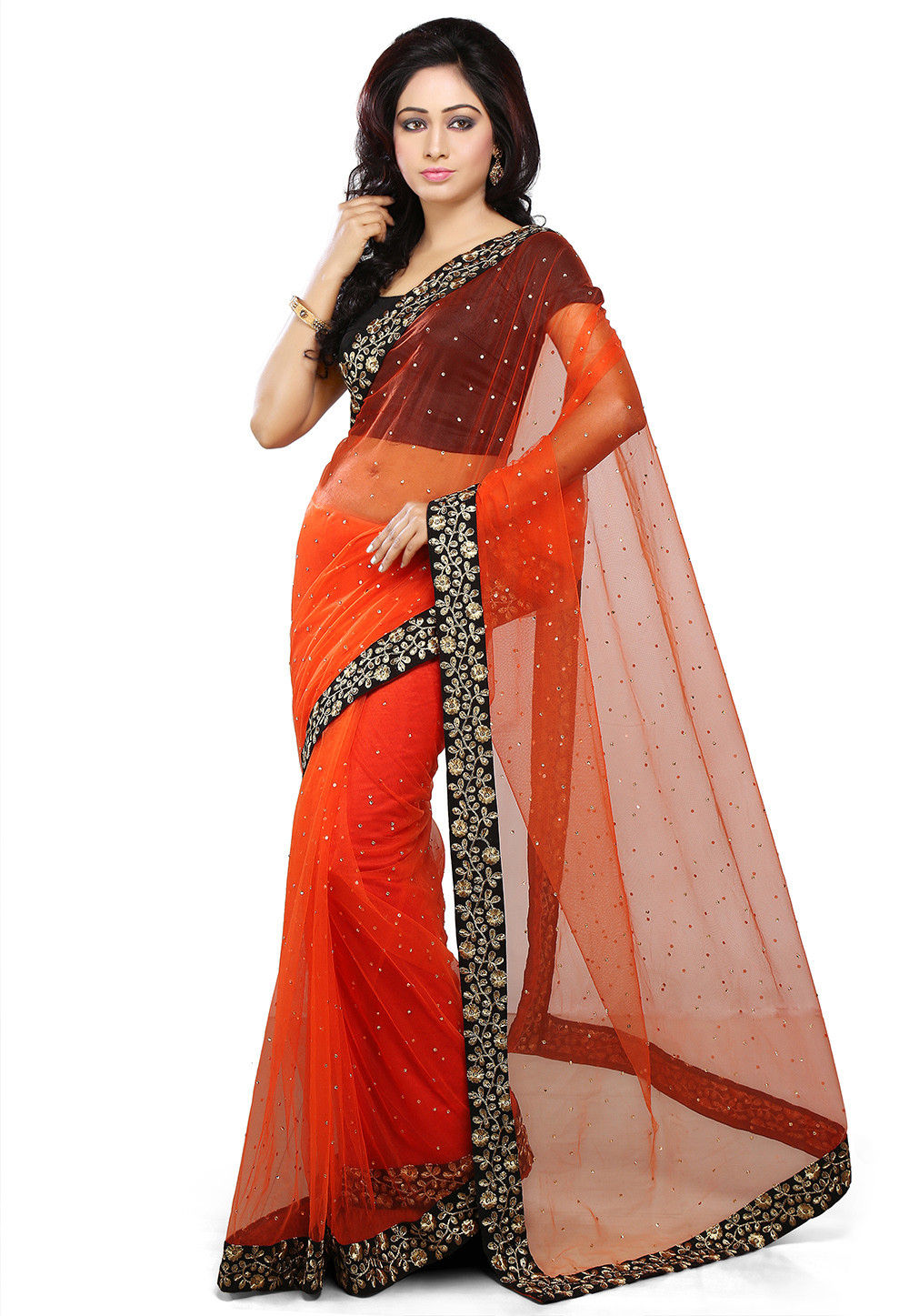 Embroidered Net Saree in Orange