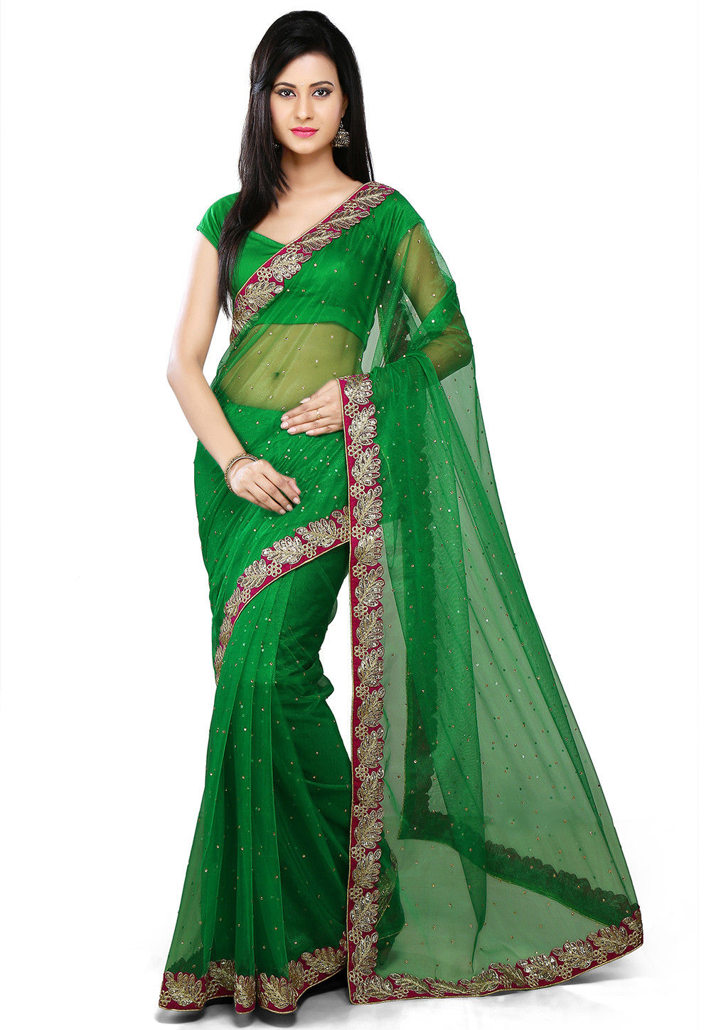 Embroidered Net Saree in Dark Green