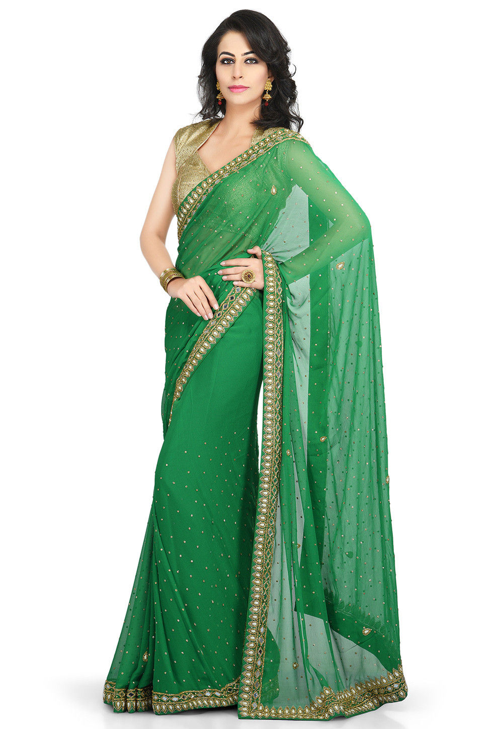 Embroidered Georgette Saree in Green