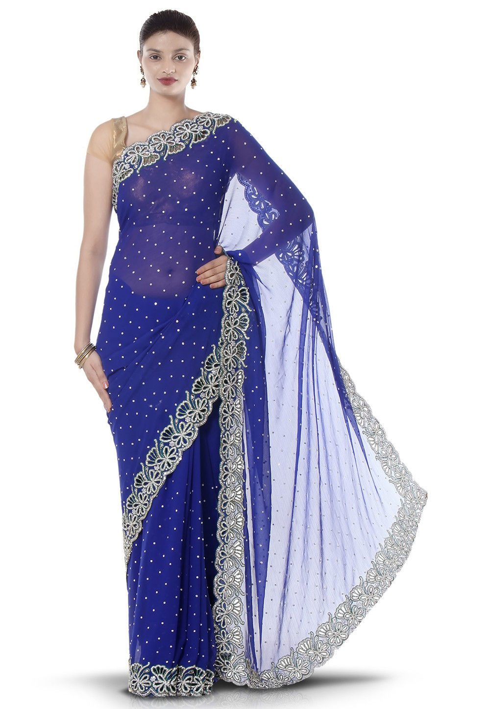 Embroidered Chiffon Saree in Blue