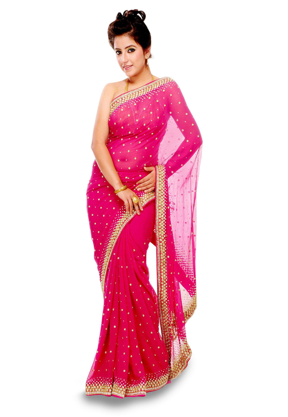 Embroidered Chiffon Saree in Pink