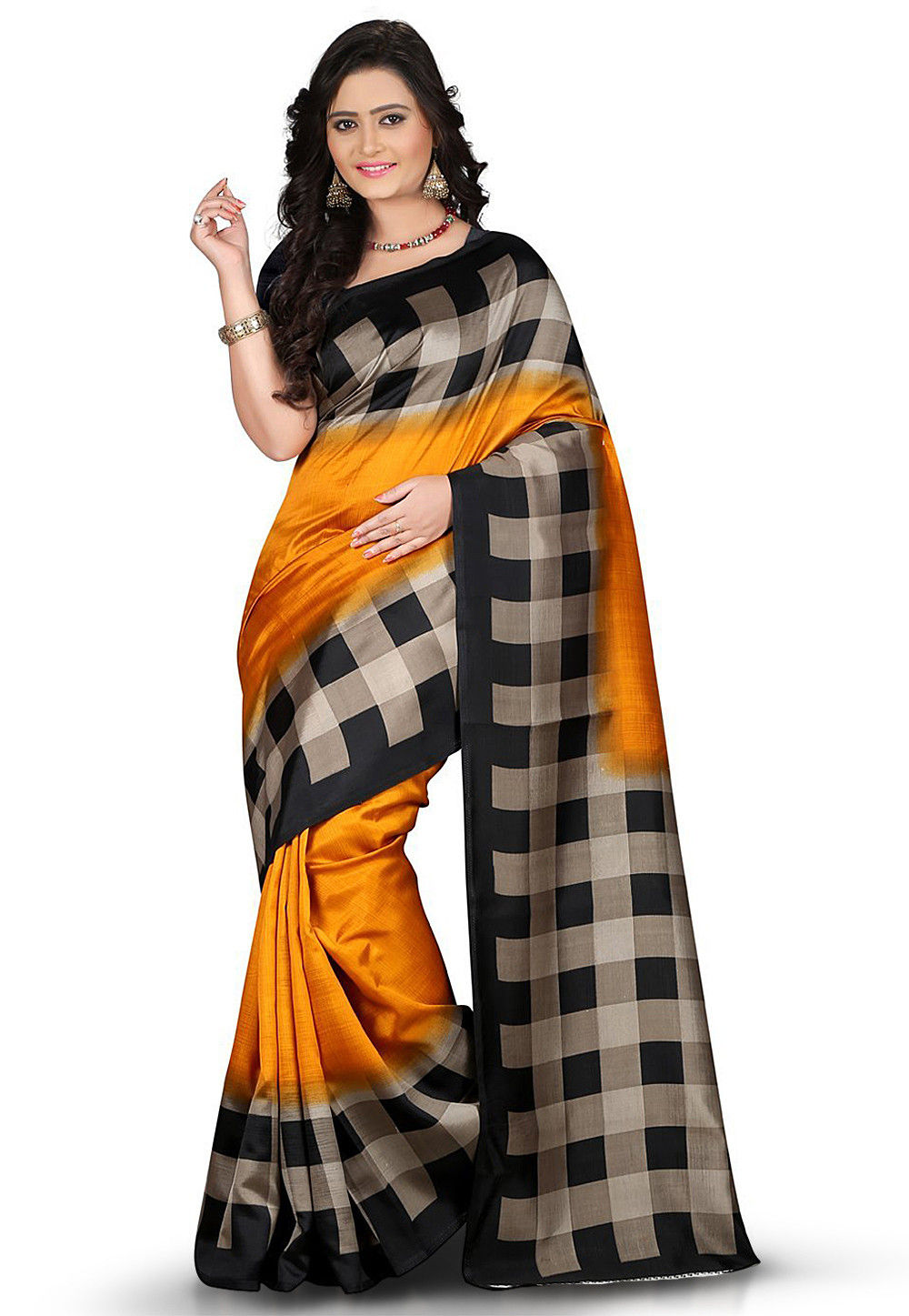 Printed Art Silk Saree in Mustard and Black