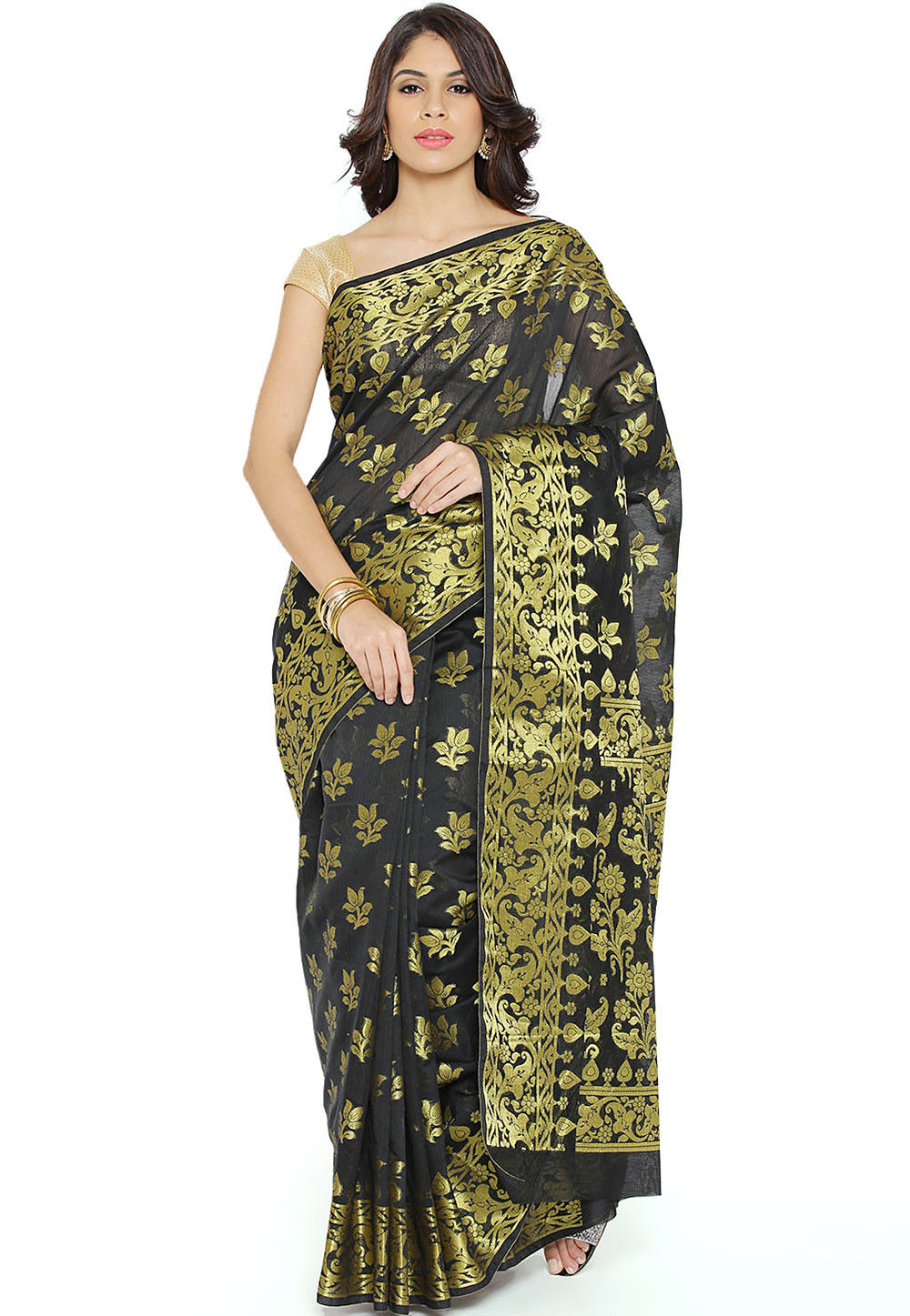 Woven Chanderi Cotton Saree in Black