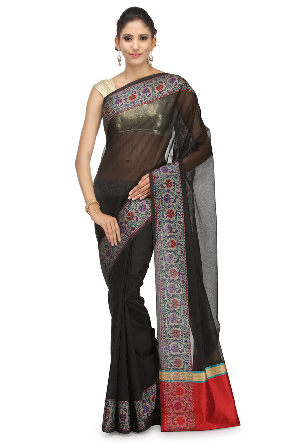 Woven Cotton Silk Saree in Black