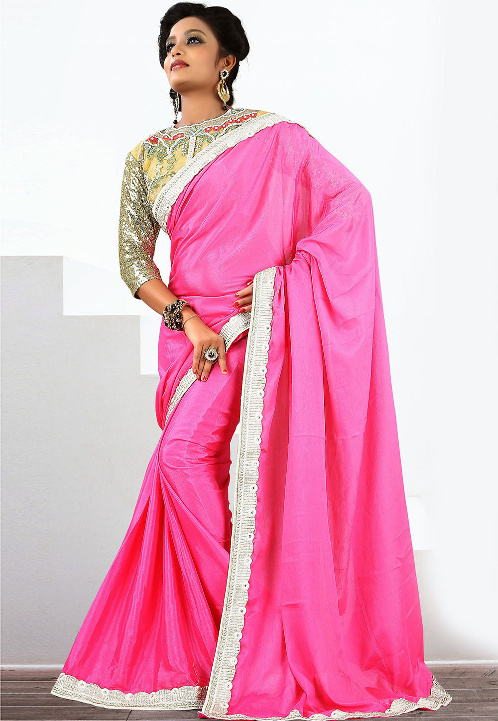 Lace Border Satin Chiffon Saree in Pink