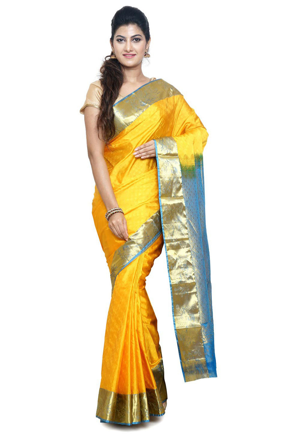 Pure Kanchipuram Silk Saree in Yellow