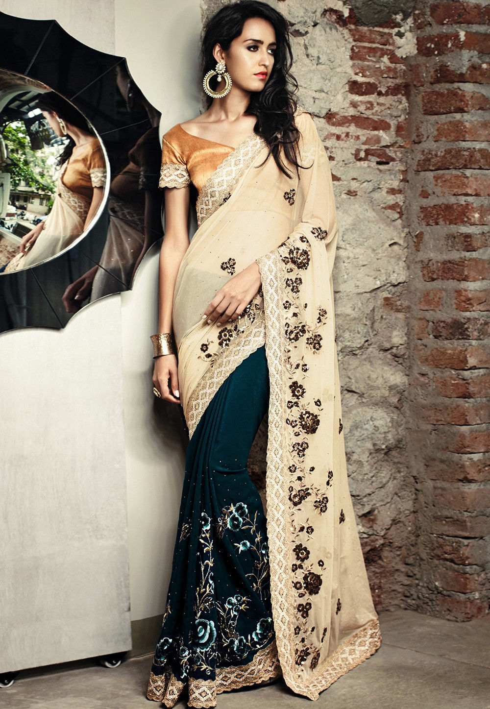 Half N Half Embroidered Crepe Saree in Beige and Teal Blue