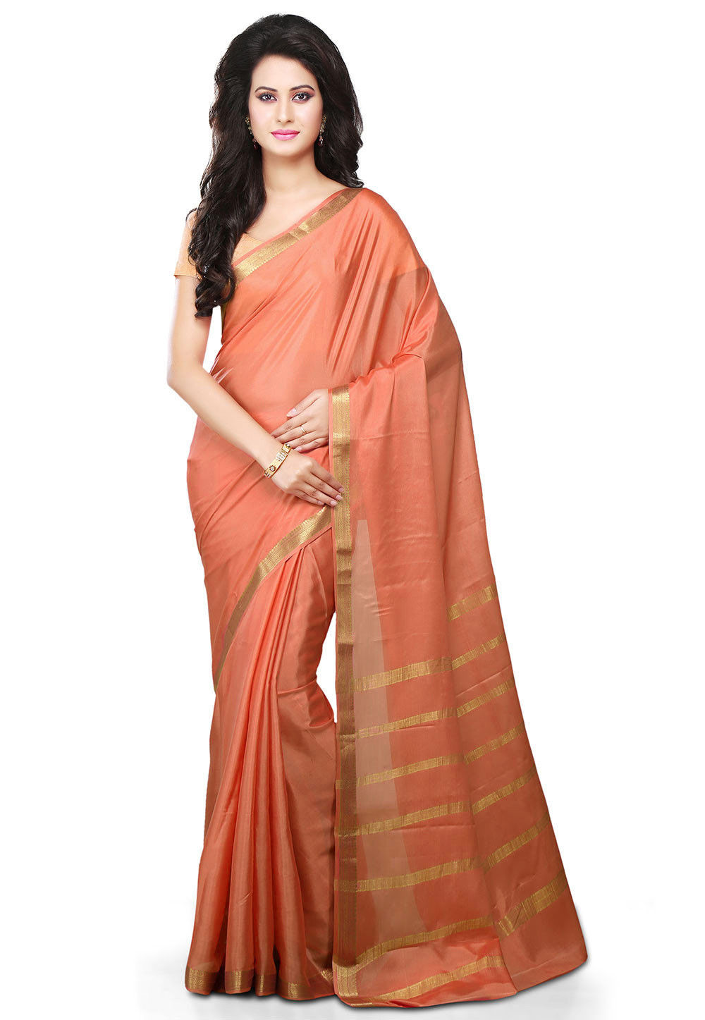 Pure Mysore Silk Saree in Peach