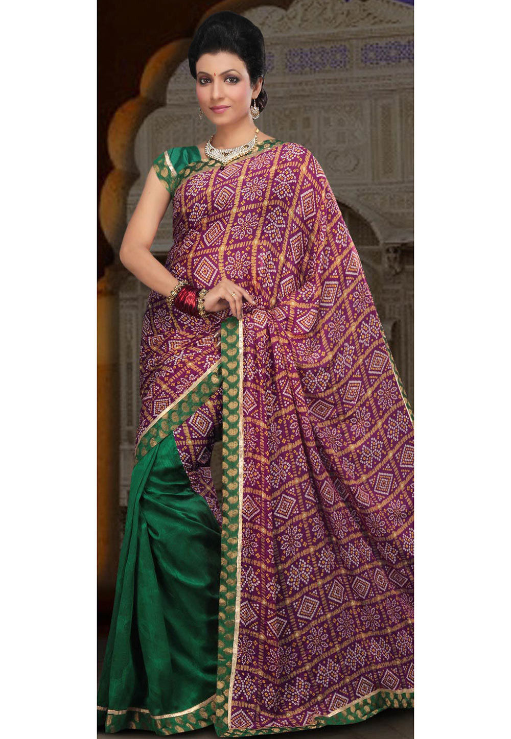 Half N Half Crepe Saree in Magenta and Green