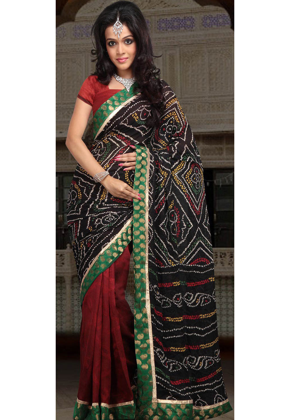 Half N Half Crepe Saree in Black and Maroon