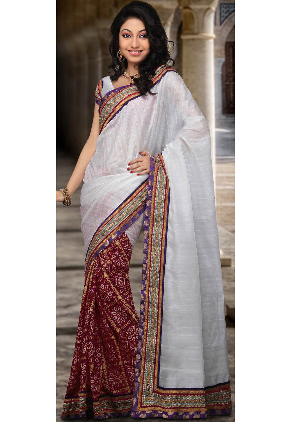 Half N Half Art Silk Saree in White and Red