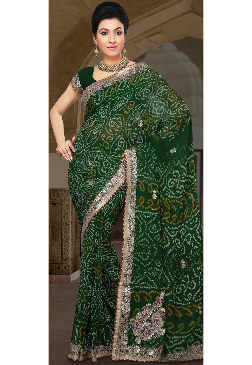Bandhni Pure Georgette Saree in Green