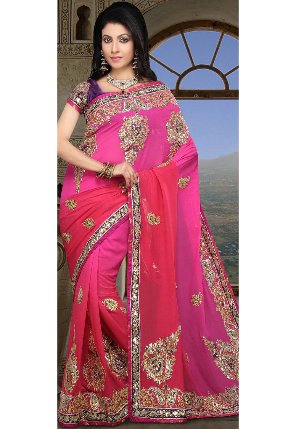 Gota Work Pure Georgette Saree In Pink Ombre Sjn4022
