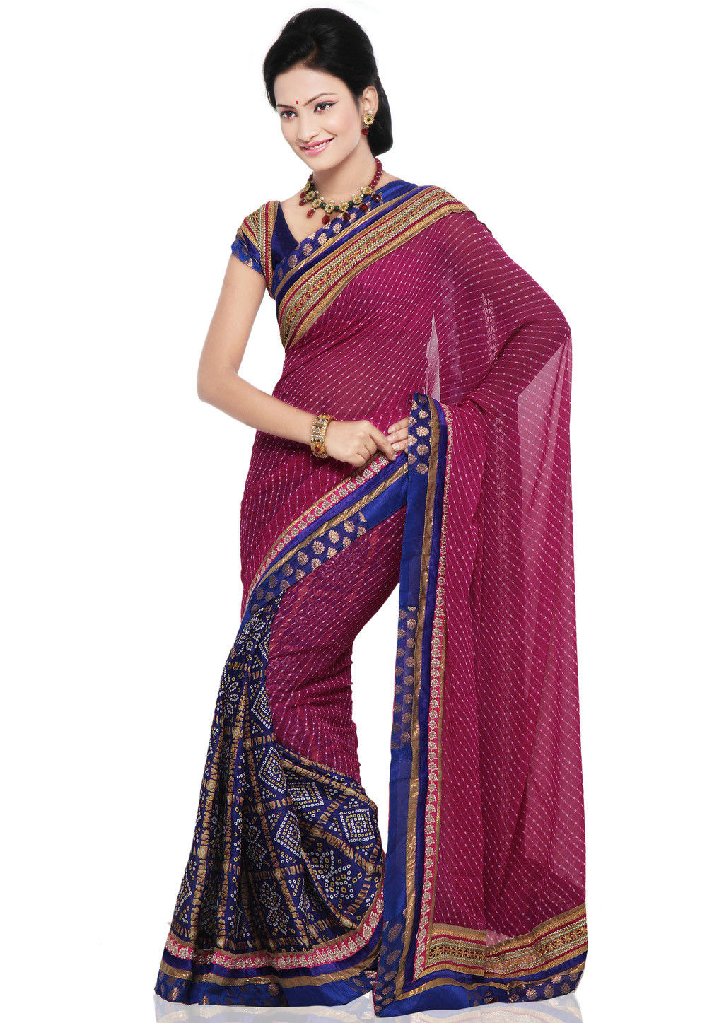 Half N Half Lehariya Saree in Pink and Royal Blue