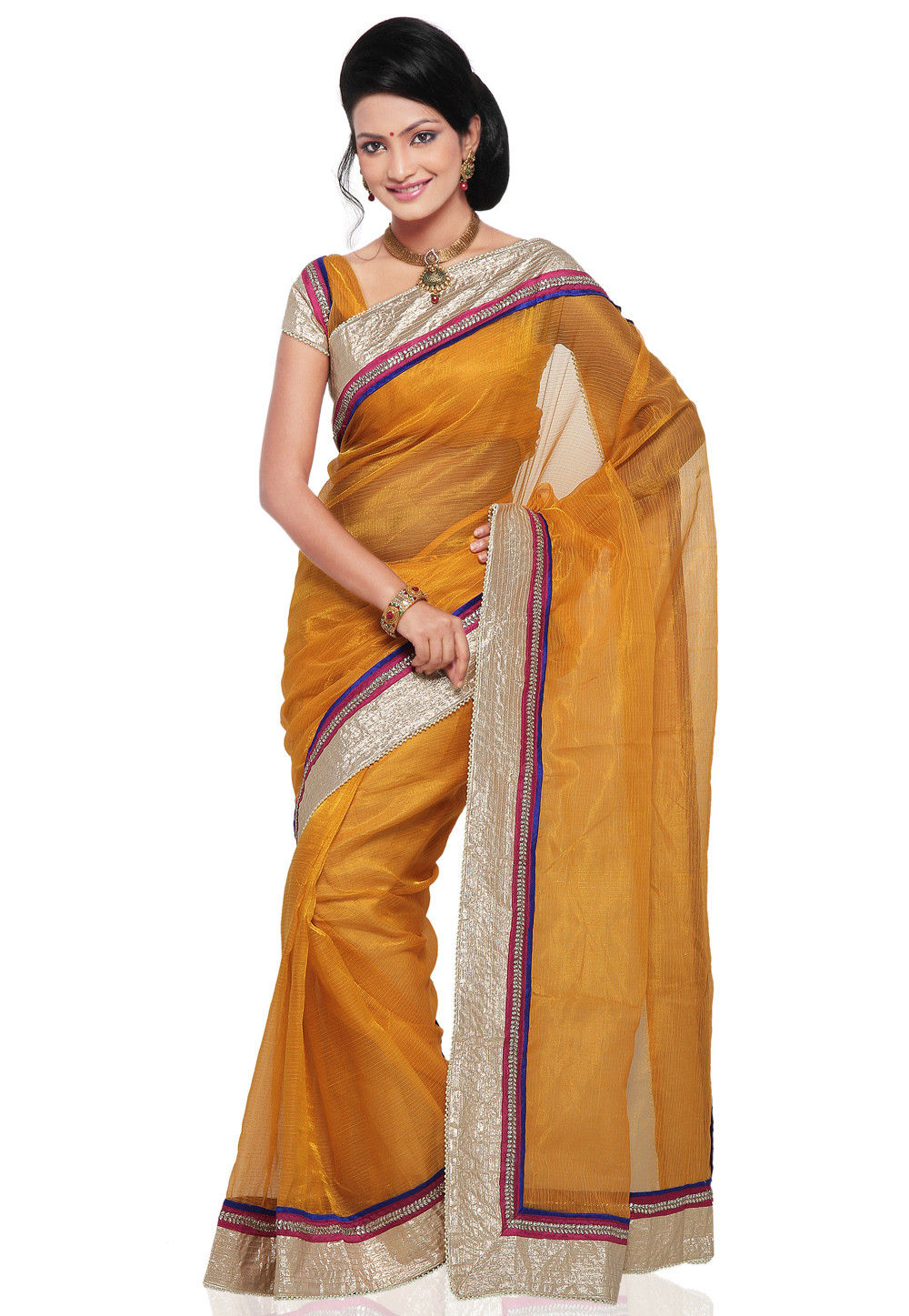 Patch Border Pure Tissue Saree in Mustard