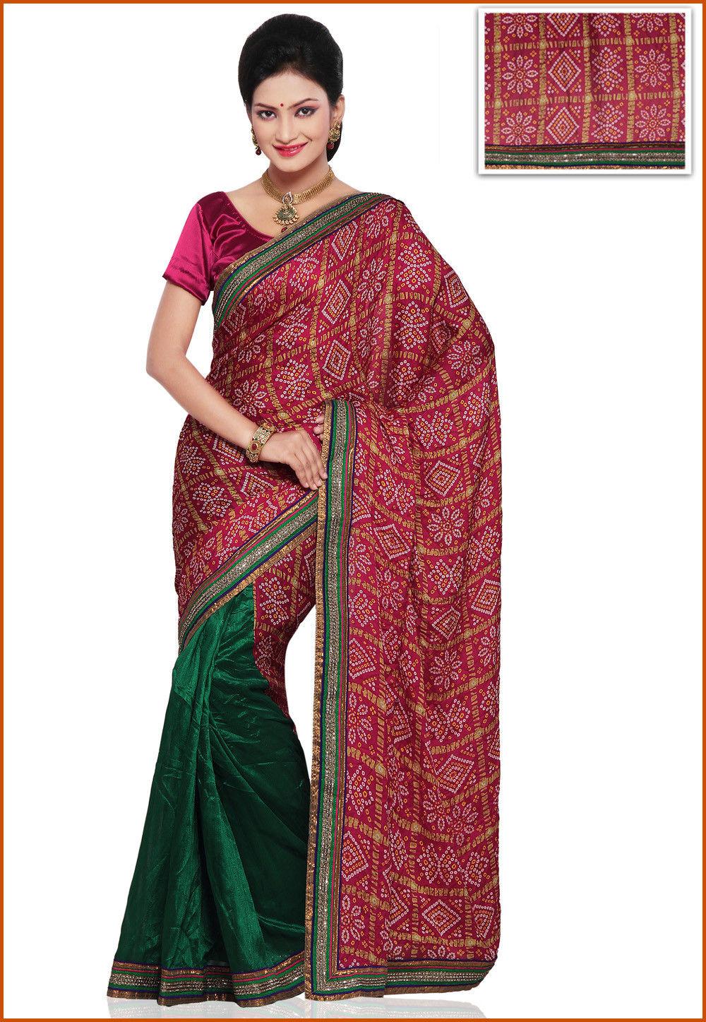 Printed Half N Half Crepe and Bhagalpuri Silk Saree in Magenta and Green