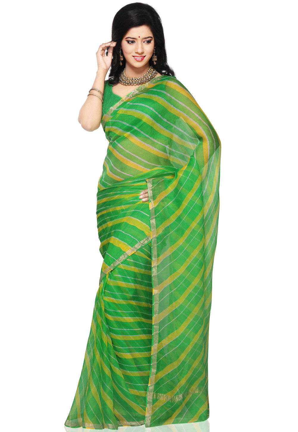 Leheriya Printed Pure Kota Silk Saree in Green and Yellow