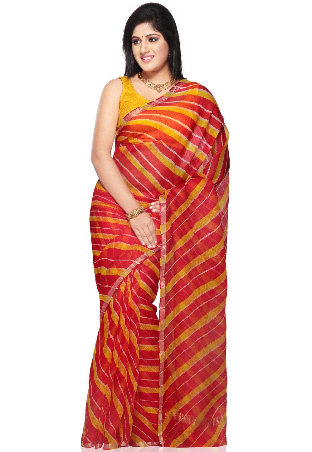 Lehariya Printed Pure Kota Silk in Red and Yellow