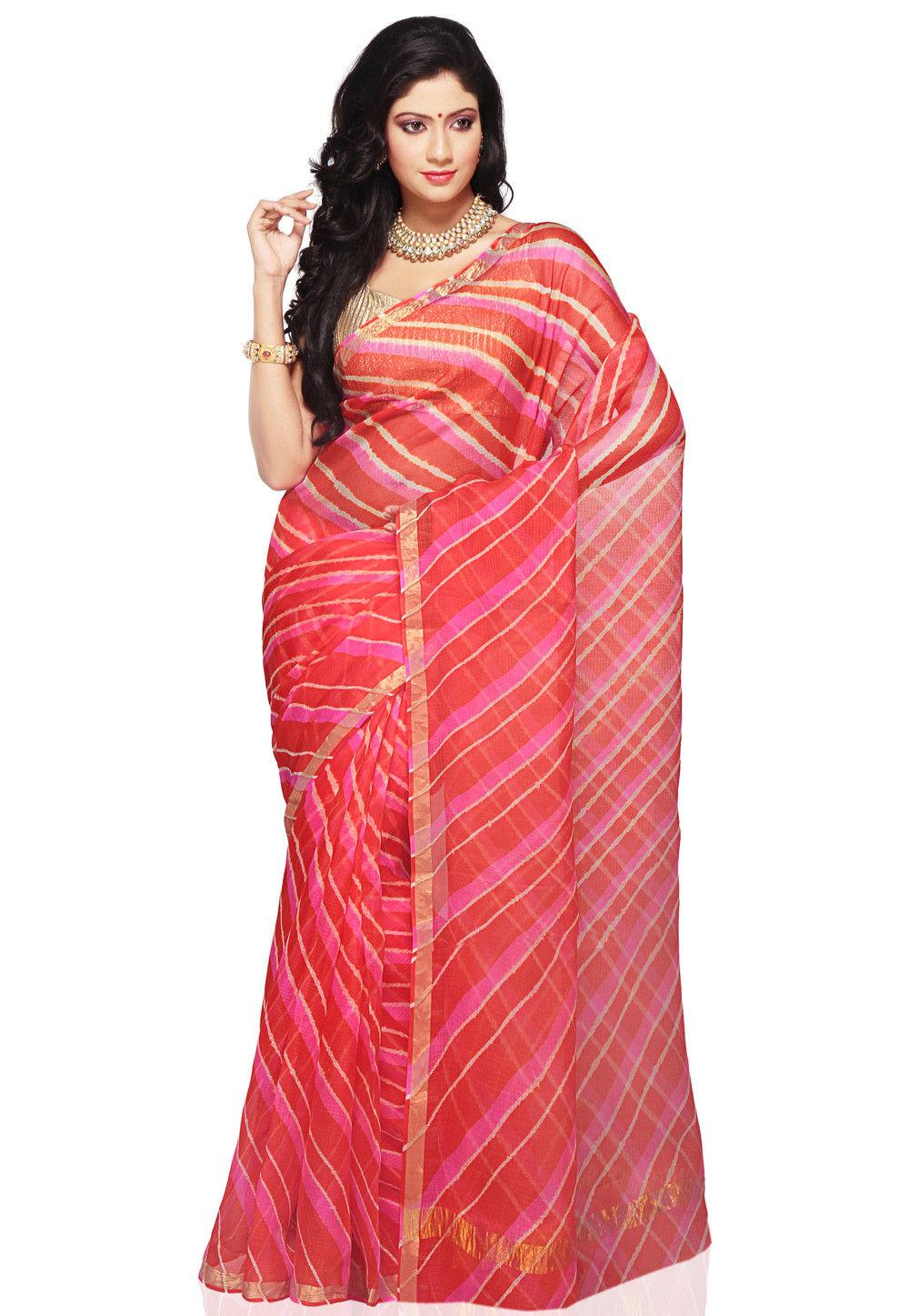 Leheriya Printed Pure Kota Silk Saree in Multicolor