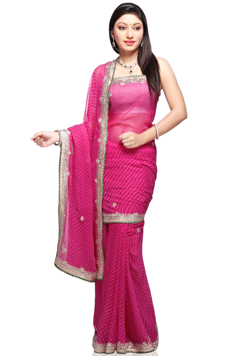 Embroidered Leheriya Georgette Saree in Fuchsia