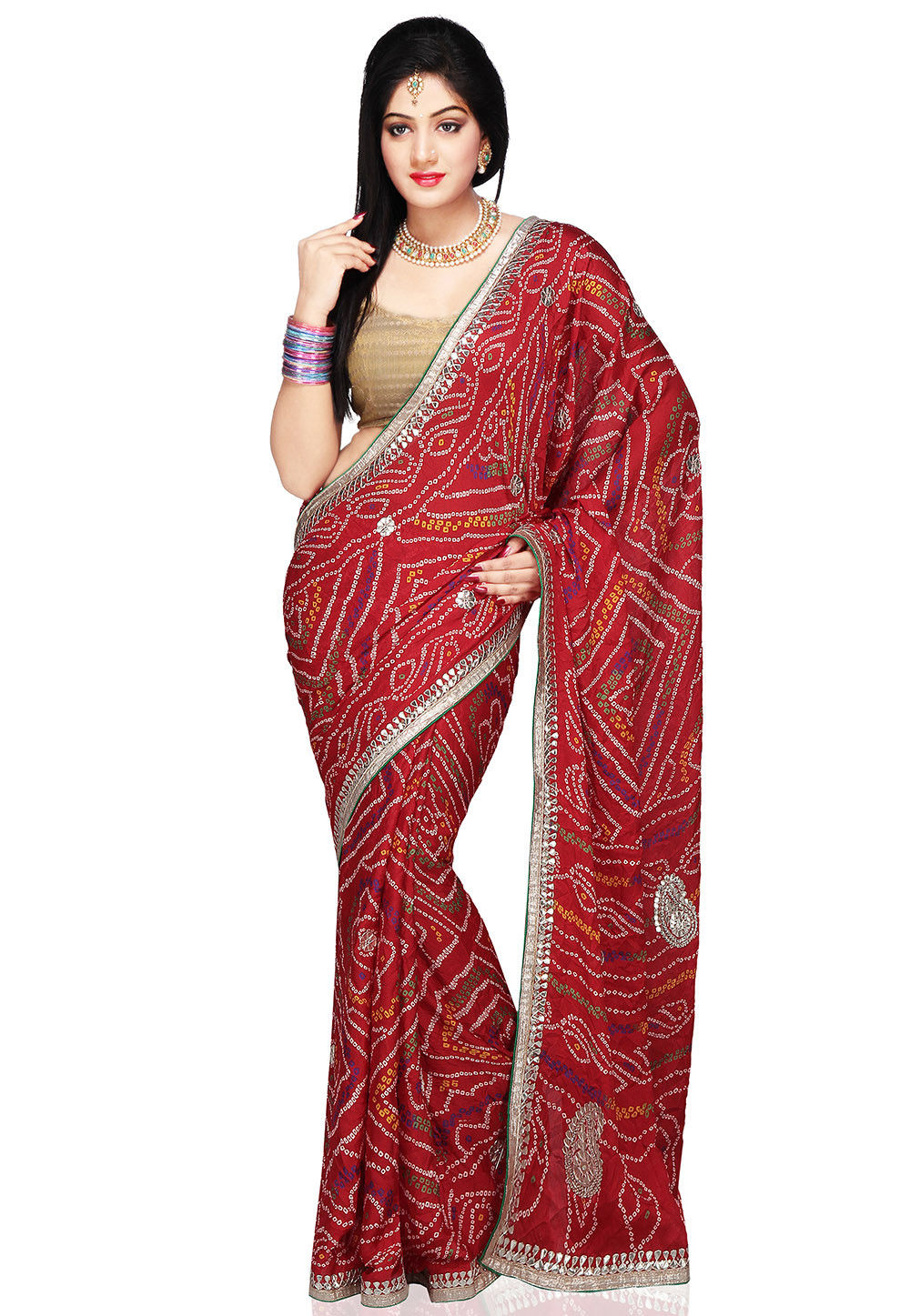 Bandhani Print Crepe Saree in Red