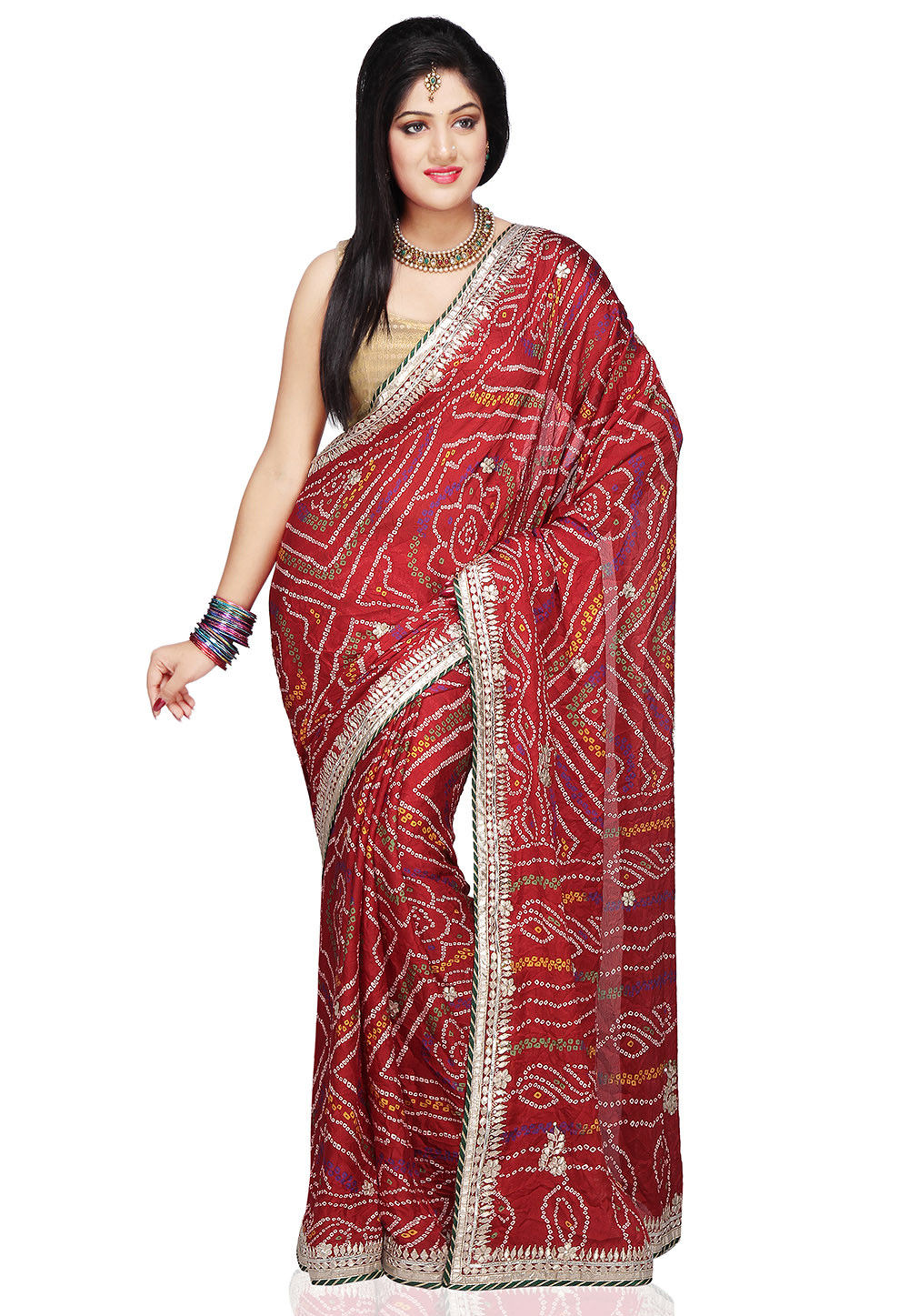 Bandhani Printed Crepe Saree in Red