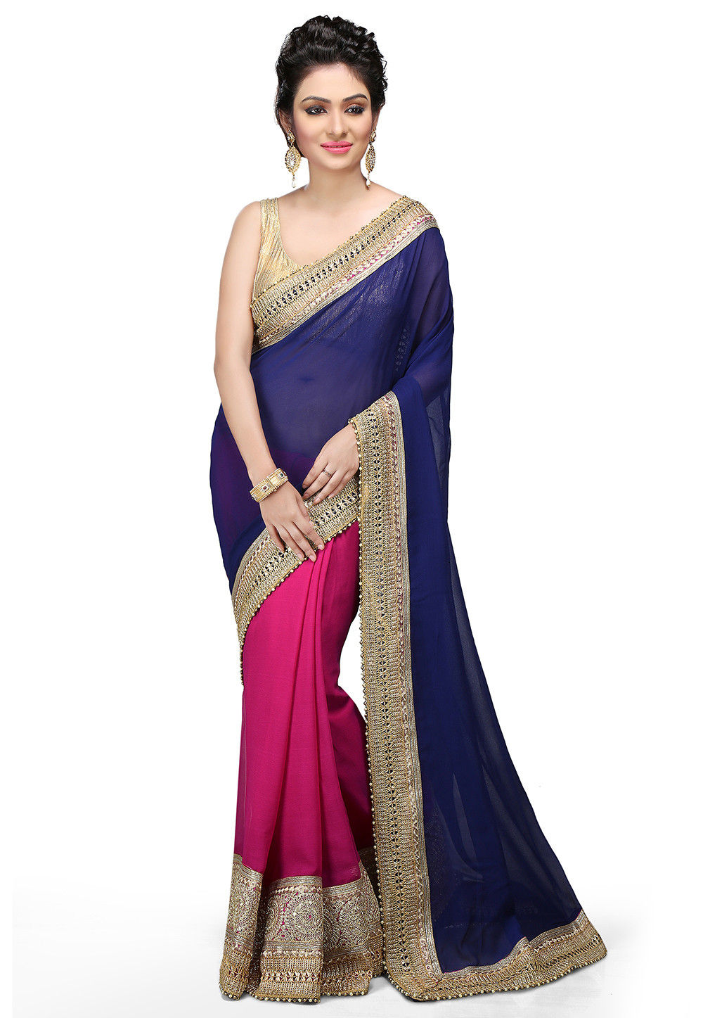 Embroidered Half N Half Georgette Saree in Navy Blue and Fuchsia