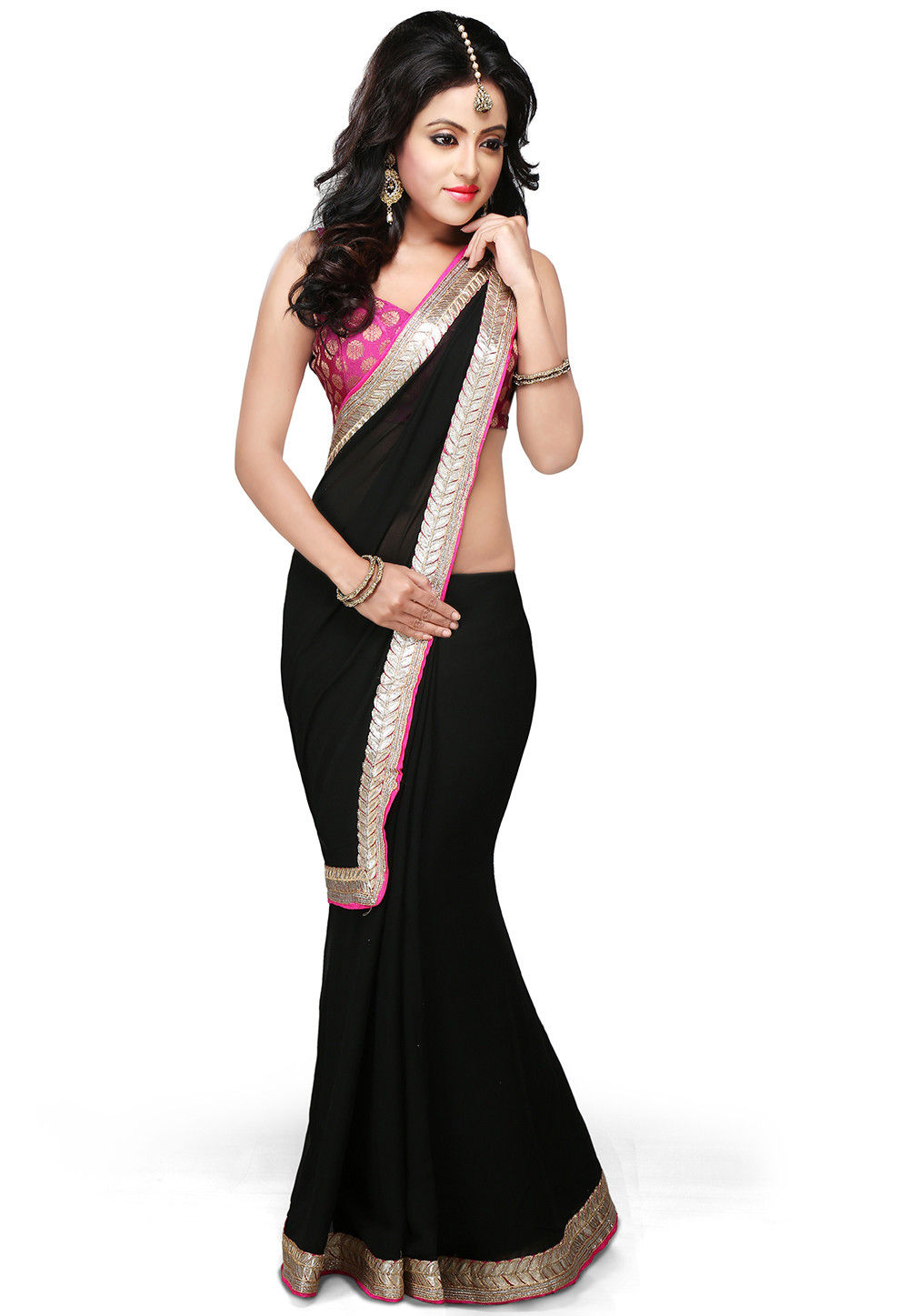 Patch Border Georgette Saree in Black