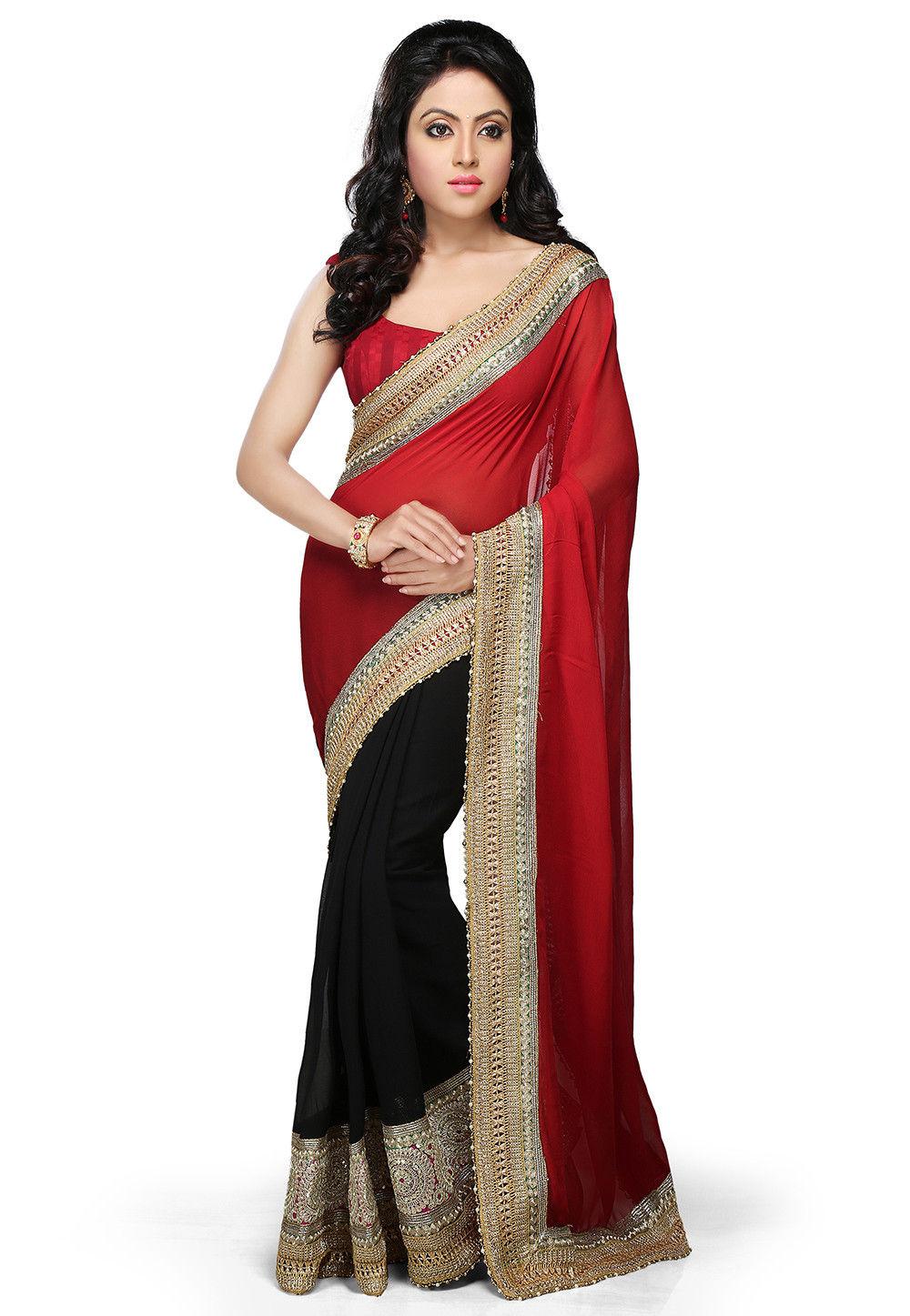 Half N Half Georgette Saree in Red and Black